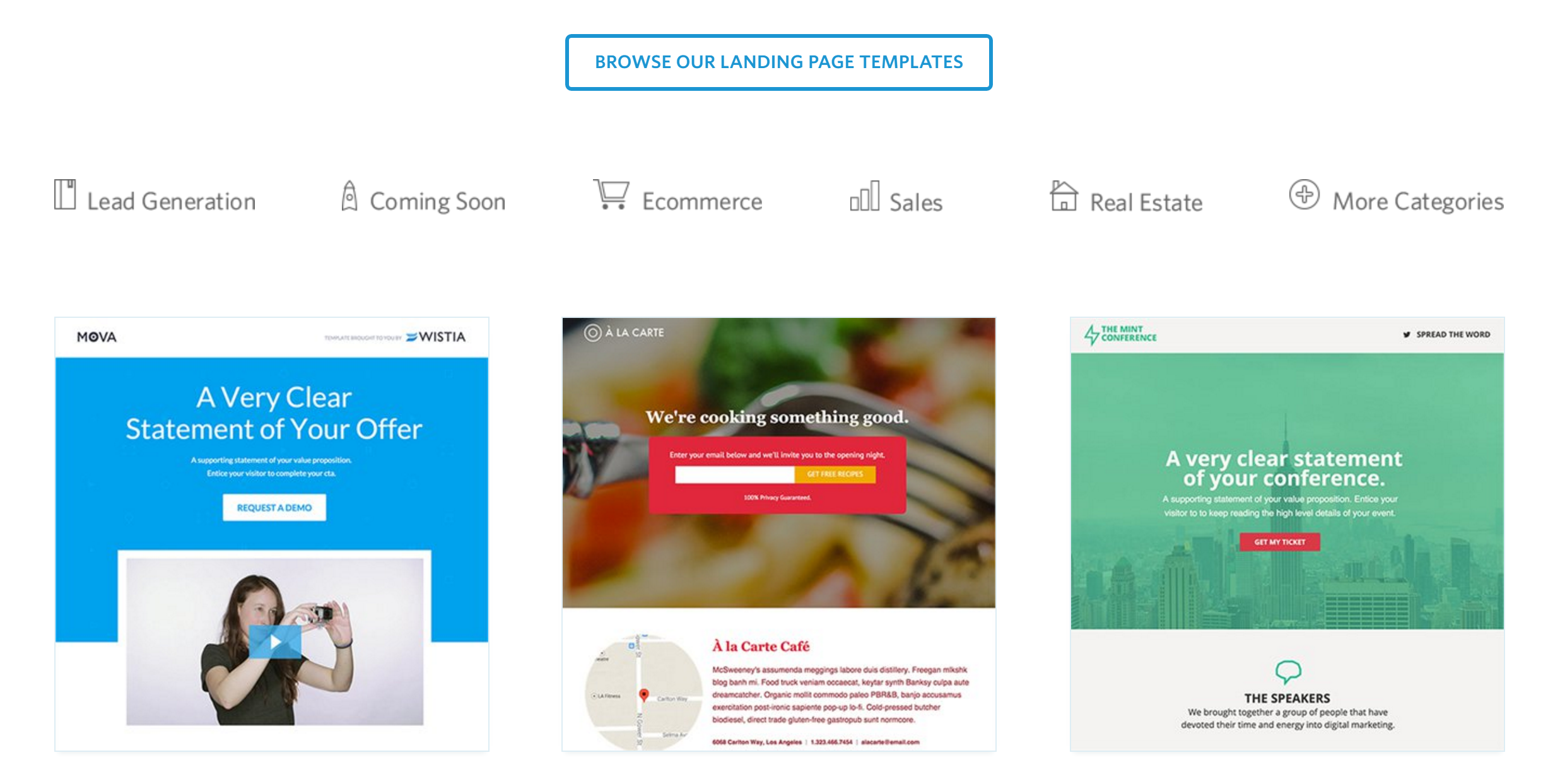 marketing tool: unbounce templates